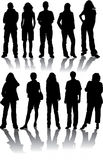 Vector Silhouettes Man And Women Stock Photos