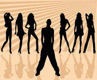 Vector silhouettes man and wom. Silhouettes man and women - vector illustration Stock Photos