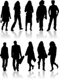 Vector silhouettes man and women vector illustration