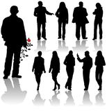 Vector silhouettes man and women Stock Images