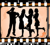 Vector silhouettes man and women on on photographic film. Vector silhouettes man and women on photographic film, illustration Stock Photo