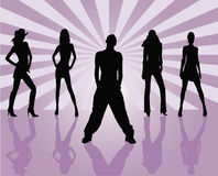 Vector silhouettes man and women - vector Stock Photo