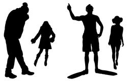 Vector silhouettes man and women. On white background Royalty Free Stock Images