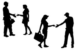 Vector silhouettes man and women Stock Photography