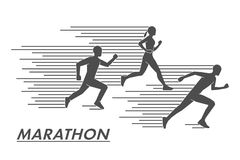 Vector silhouettes marathoners. Black figures marathon runners. Stock Images