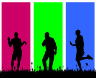 Vector silhouettes of men. Vector silhouettes of men on a colored background Royalty Free Stock Photography