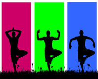 Vector silhouettes of men. Vector silhouettes of men on a colored background Royalty Free Stock Photos