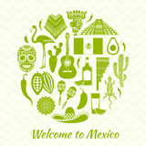 Vector silhouettes of the Mexican national symbol. Royalty Free Stock Image