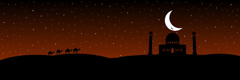 Vector silhouettes mosque with moon on the stars background. Vector image silhouettes mosque with moon on the stars background Stock Image