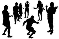 Free Vector Silhouettes Of A Group Of Dancing People, Men And Women In Different Dance Poses. A Group Of 7 People, 5 Girls, 2 Guys. A Stock Photo - 220692830