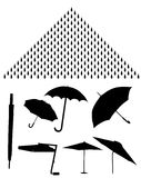 Vector Silhouettes Of Umbrellas Royalty Free Stock Images