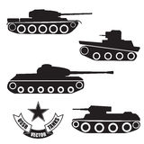 Vector silhouettes of old Soviet tanks Stock Photos