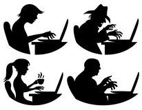 Vector silhouettes. People and computer. Royalty Free Stock Photos