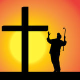 Vector silhouettes of people. Vector silhouettes of people at the Cross at sunset Royalty Free Stock Images