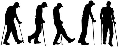 Vector silhouettes of people with crutches. Royalty Free Stock Images