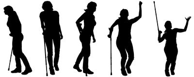 Vector silhouettes of people with crutches. Stock Image