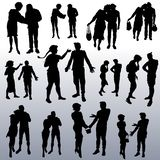 Vector silhouettes of people of different ages royalty free illustration