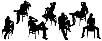 Vector silhouettes of people. Vector silhouettes of men and women who sit on the chair Royalty Free Stock Photos