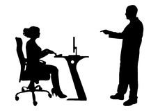 Vector silhouettes of people in office. Stock Photo