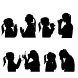Vector silhouettes people. Vector silhouettes people in profile on white background Royalty Free Stock Image
