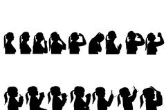 Vector silhouettes people. Vector silhouettes people in profile on white background Stock Photo