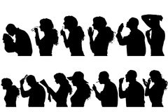 Vector silhouettes people. Vector silhouettes people in profile on white background Stock Photography