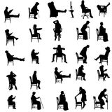 Vector silhouettes of people. Vector silhouettes of people sitting in a chair Stock Photography
