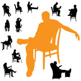 Vector silhouettes of people. Vector silhouettes of people sitting in a chair Royalty Free Stock Photography