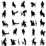 Vector silhouettes of people. Vector silhouettes of people sitting in a chair Royalty Free Stock Photo