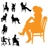Vector silhouettes of people. Vector silhouettes of people sitting in a chair Royalty Free Stock Image