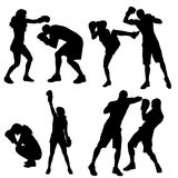 Vector silhouettes of people. Vector silhouettes of people in sports on a white background Royalty Free Stock Photo