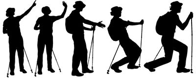 Vector silhouettes of people with trekking stick. Royalty Free Stock Images