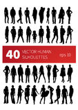 Vector silhouettes of people in various poses Stock Photography