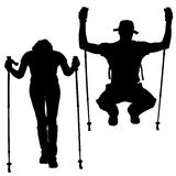 Vector silhouettes of people with walking bare. Royalty Free Stock Photography