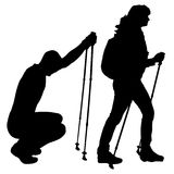 Vector silhouettes of people with walking bare. Stock Images