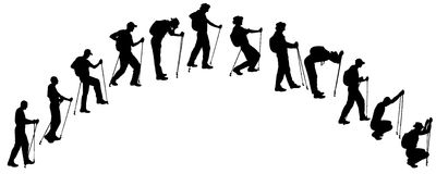 Vector silhouettes of people with walking bare. Royalty Free Stock Images
