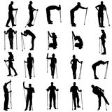 Vector silhouettes of people with walking bare. Stock Photos