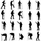Vector silhouettes of people with walking bare. Royalty Free Stock Photos