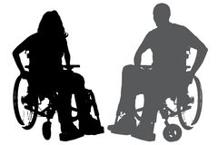 Vector silhouettes of people in a wheelchair. Royalty Free Stock Images