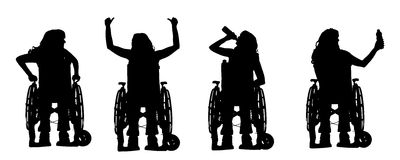 Vector silhouettes of people in a wheelchair. Royalty Free Stock Image