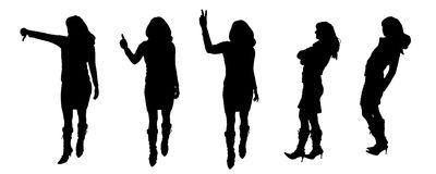 Vector Silhouettes of people Royalty Free Stock Photo