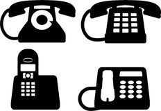 Vector silhouettes of phones Royalty Free Stock Photo