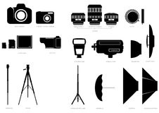 Vector silhouettes of photographic accessories Stock Photography