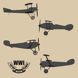 Vector silhouettes retro planes times of World War I. Set from 4 vector silhouettes of a retro planes times of World War I Stock Images