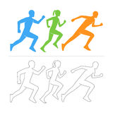 Vector silhouettes runners. Running icon and symbol. Royalty Free Stock Image