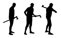 Vector silhouettes set of lumberjack holding and swinging with a royalty free illustration