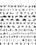 Vector silhouettes set. Set # 4. Set # 4. Big collection of collage vectorsilhouettes of people, animals, birs, fish, flowers and insects vector illustration