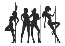 Several types of women woman striptease Silhouette royalty free illustration