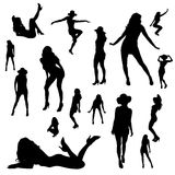 Vector silhouettes of sexy girls. Royalty Free Stock Image