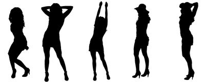 Vector silhouettes of sexy women. Stock Images